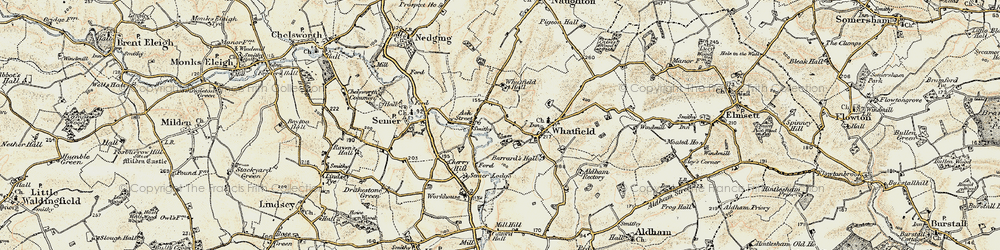 Old map of Whatfield Hall in 1899-1901