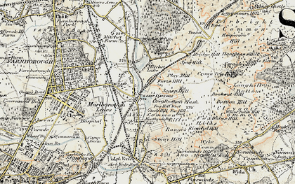 Old map of Ash Vale in 1898-1909