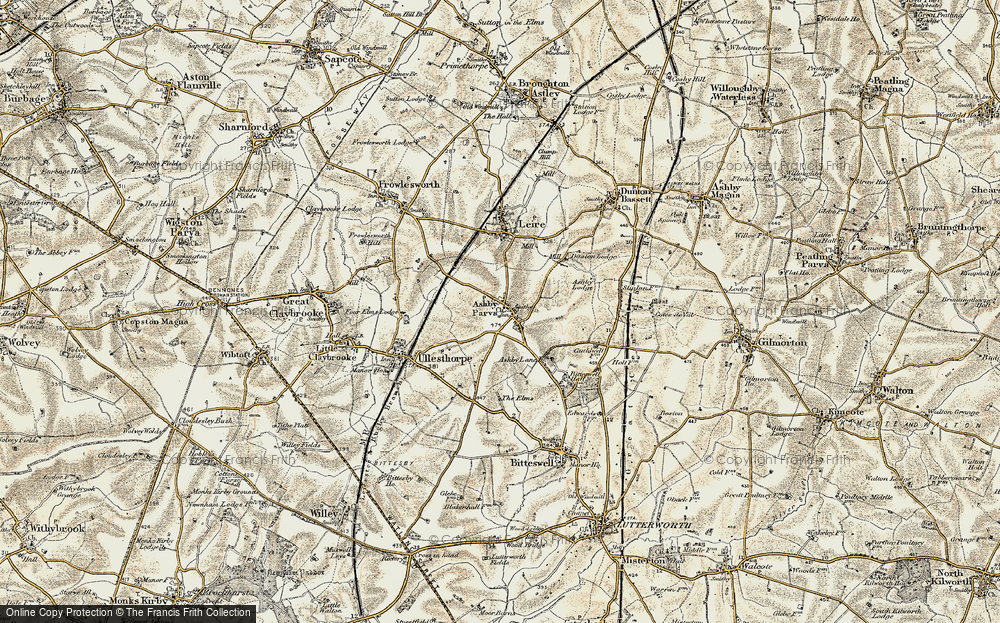 Old Map of Ashby Parva, 1901-1902 in 1901-1902