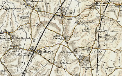 Old map of Ashby Parva in 1901-1902