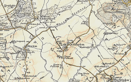 Old map of Ashendon in 1898