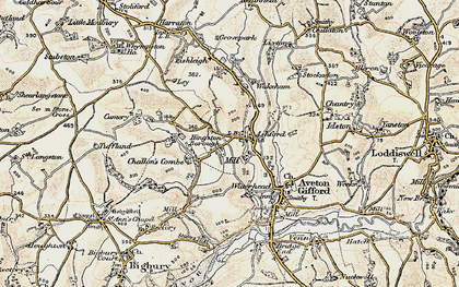 Old map of Ley in 1899-1900