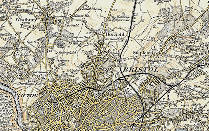 Old map of Ashley Down in 1899