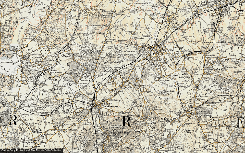 Old Map of Historic Map covering Ashtead Park in 1897-1909