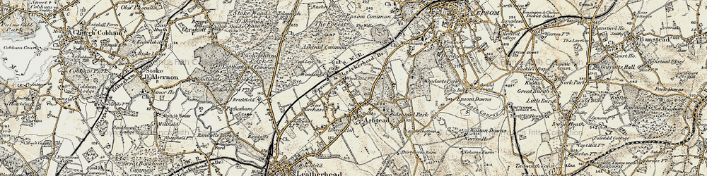 Old map of Ashtead in 1897-1909