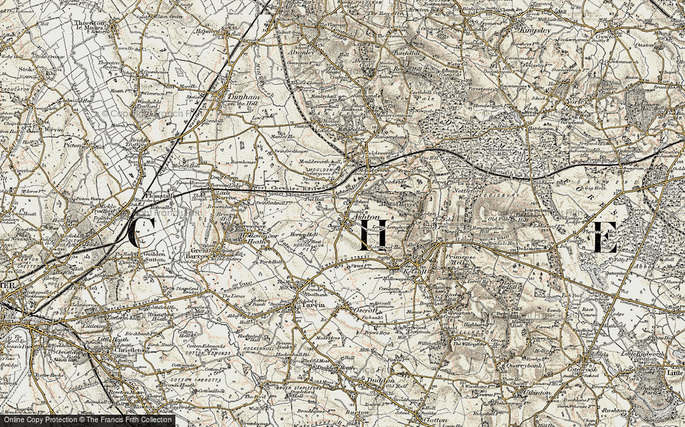 Old Map of Historic Map covering Ashton Hayes in 1902-1903