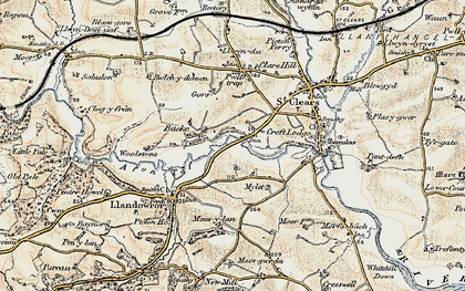 Old map of Backe in 1901