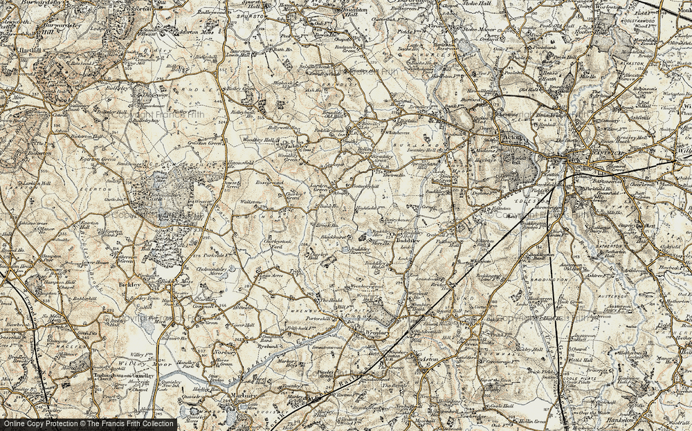Old Map of Historic Map covering Baddiley Hall in 1902