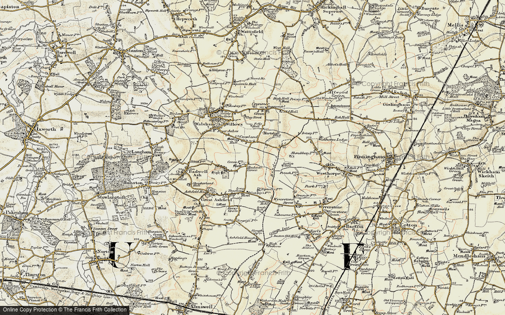 Old Map of Badwell Green, 1901 in 1901