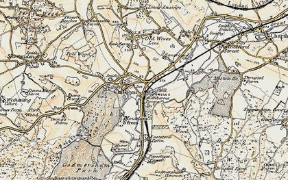 Old map of Bagham in 1897-1898