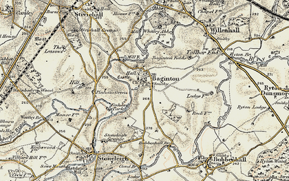 Old map of Baginton in 1901-1902
