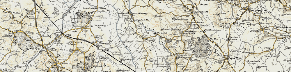 Old map of Wycherley Hall in 1902