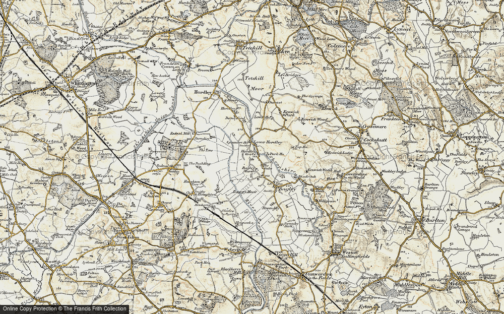 Old Map of Historic Map covering Baggy Moor in 1902