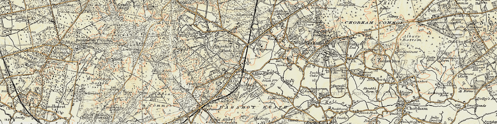 Old map of Bagshot in 1897-1909