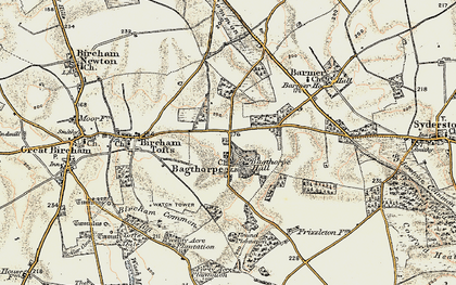 Old map of Bagthorpe in 1901-1902