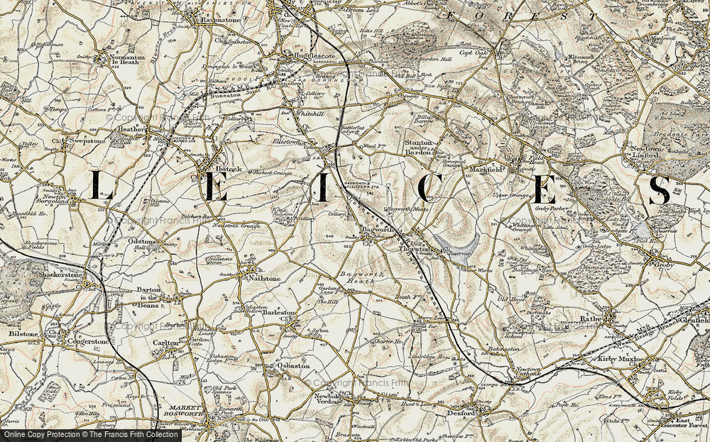 Old Map of Historic Map covering Bagworth Heath in 1902-1903
