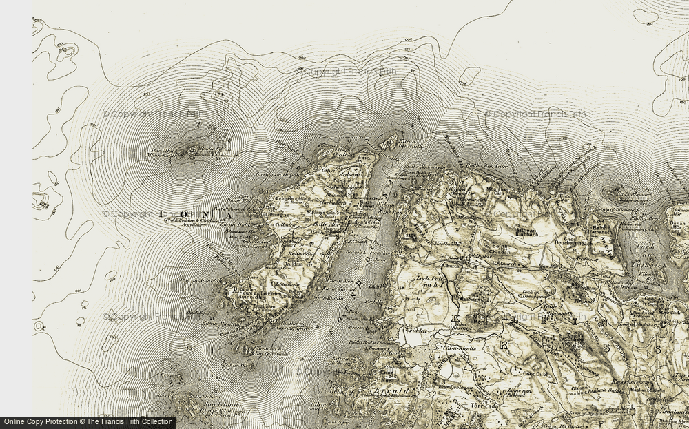 Old Map of Historic Map covering Auchabhaich in 1906-1907