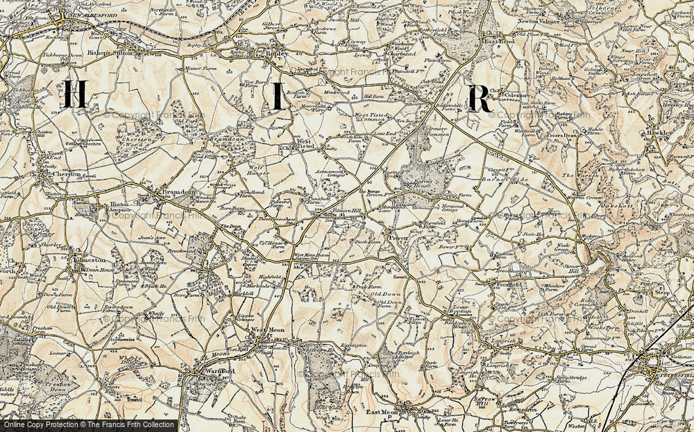 Old Map of Historic Map covering Ashen Wood Ho in 1897-1900