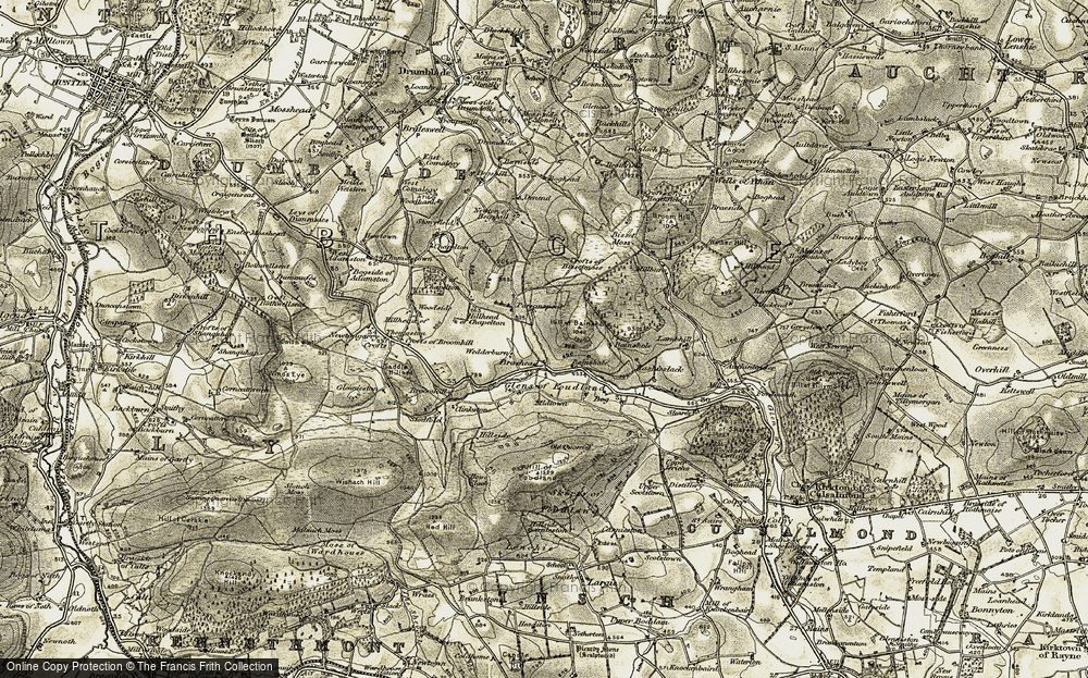 Old Map of Bainshole, 1908-1910 in 1908-1910