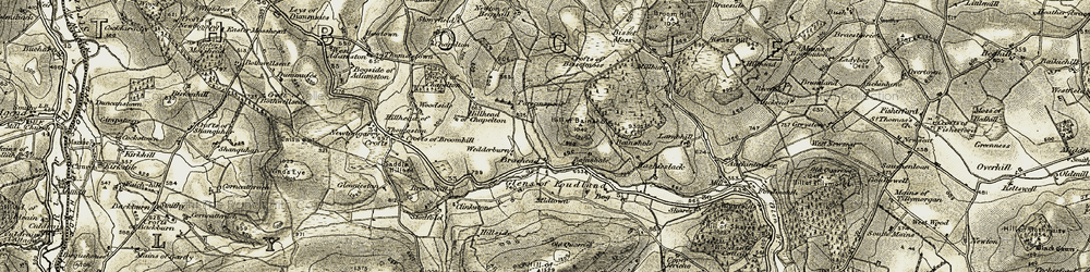 Old map of Whinbrae in 1908-1910