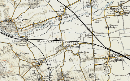 Old map of Bainton in 1901-1902