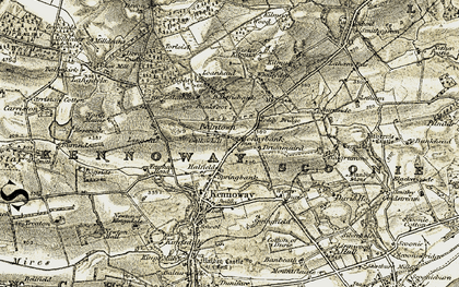 Old map of Whallyden in 1903-1908