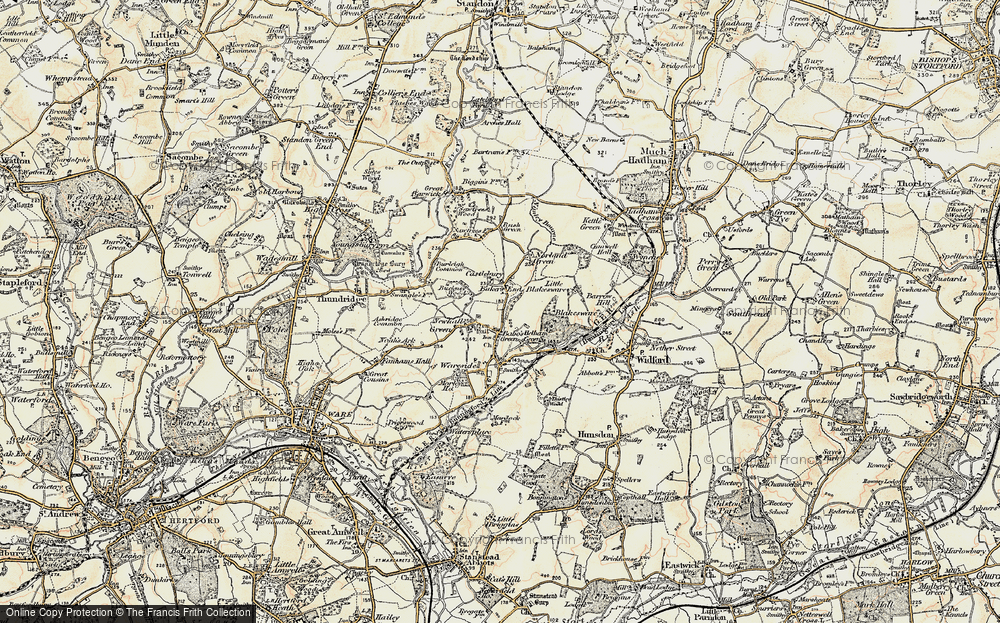 Old Map of Bakers End, 1898-1899 in 1898-1899