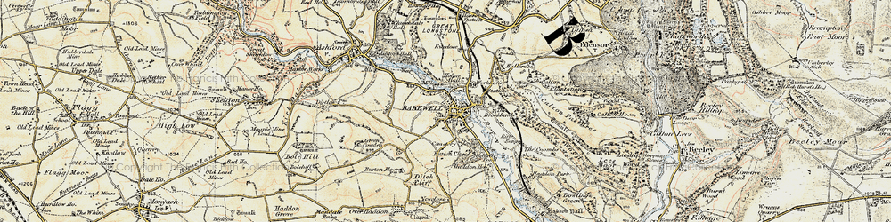 Old map of Bakewell in 1902-1903