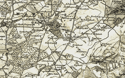 Old map of Balbeggie in 1907-1908