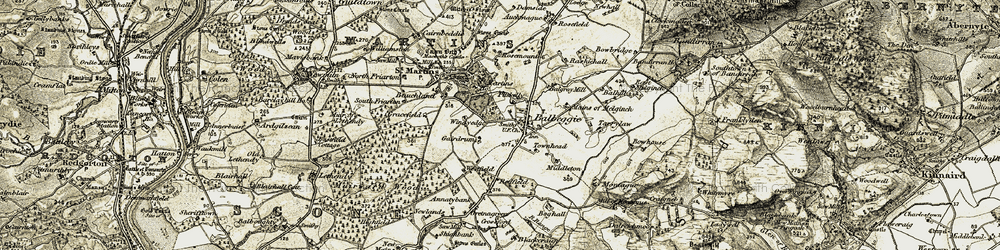 Old map of Windedge in 1907-1908