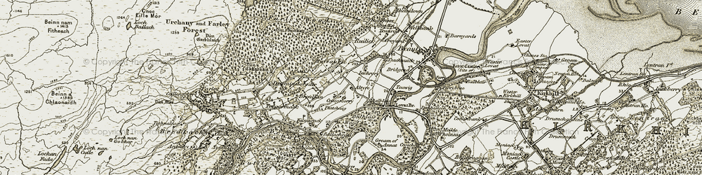 Old map of Altyre in 1908-1912