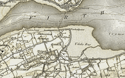 Old map of Auchmartin in 1911-1912