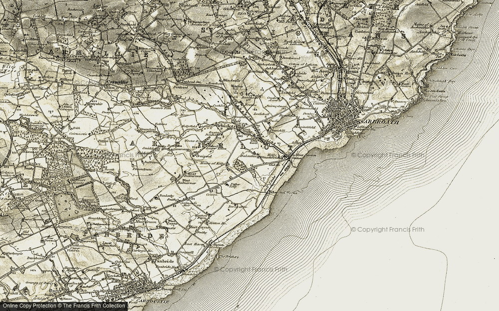 Old Map of Balcathie, 1907-1908 in 1907-1908