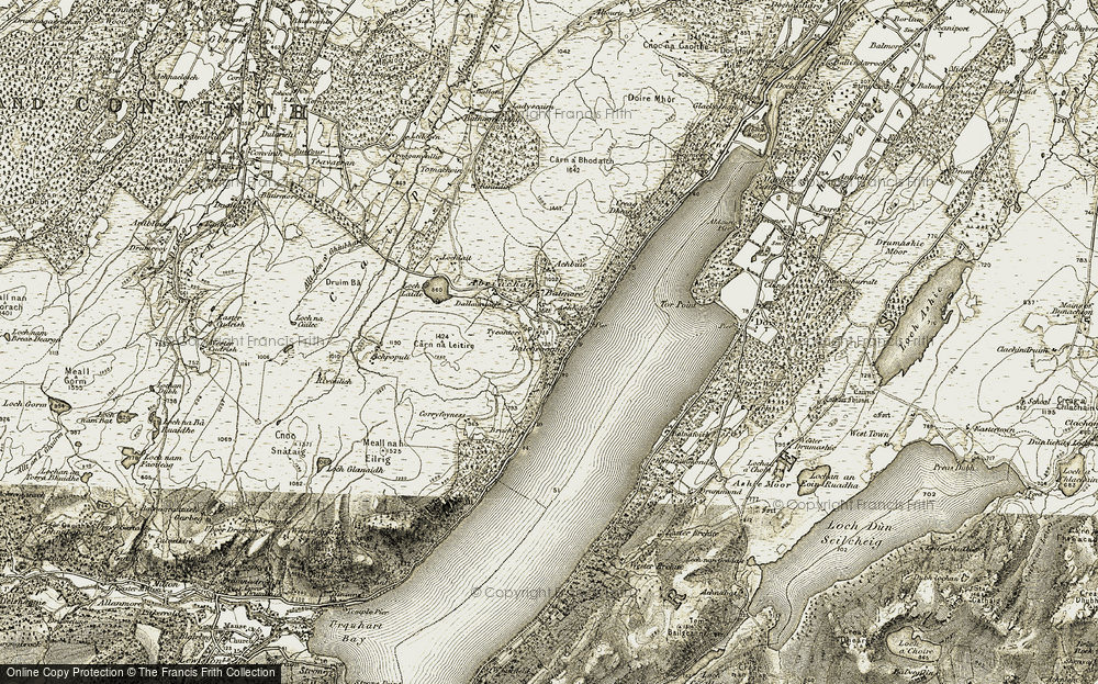 Old Map of Balchraggan, 1908-1912 in 1908-1912