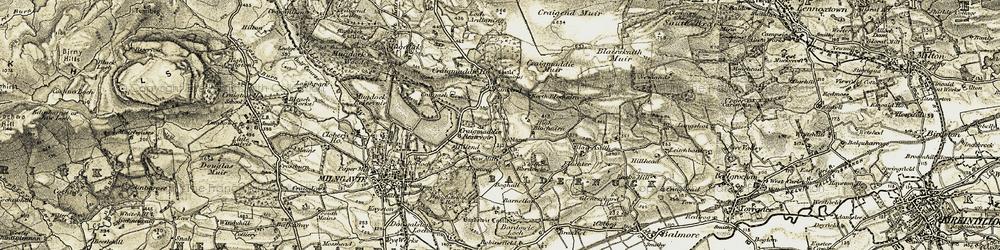 Old map of Baldernock in 1904-1907