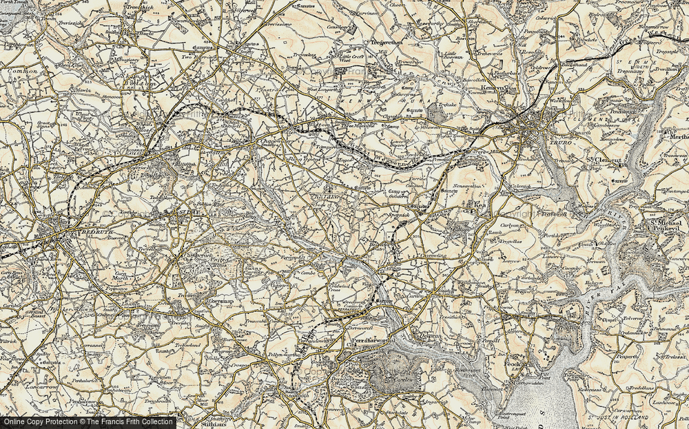 Old Map of Baldhu, 1900 in 1900