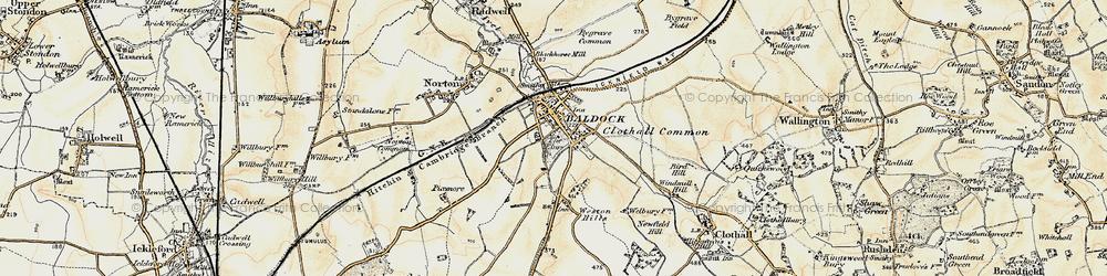 Old map of Baldock in 1898-1899