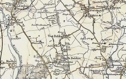 Old map of Baldon Row in 1897-1899