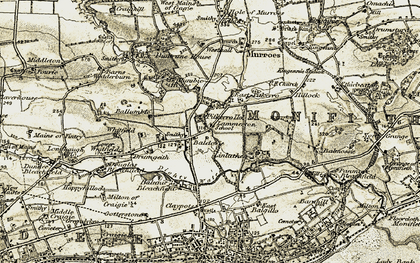 Old map of Linlathen in 1907-1908