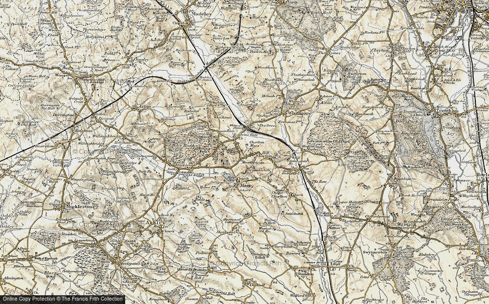 Old Map of Historic Map covering Whitmore Wood in 1902