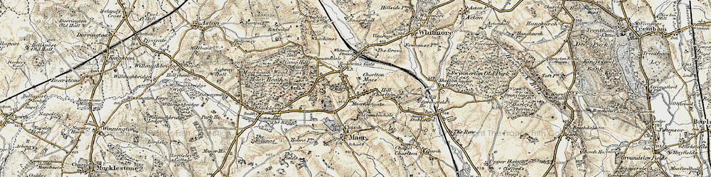 Old map of Whitemore Heath in 1902