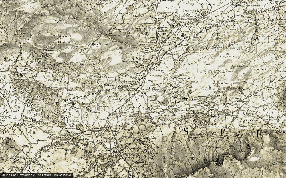 Old Map of Historic Map covering Ballochruin in 1904-1907
