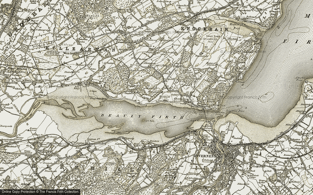 Old Map of Historic Map covering Lettoch in 1911-1912
