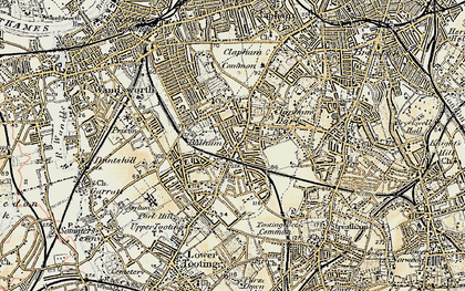 Old map of Balham in 1897-1909