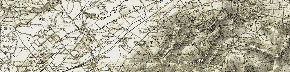Old map of West Nevay in 1907-1908