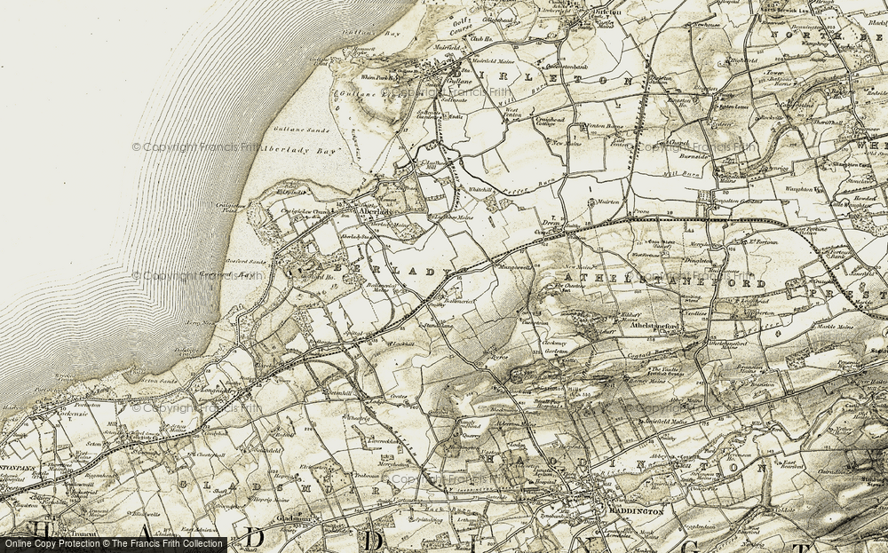 Old Map of Historic Map covering Ballencrieff House in 1903-1906
