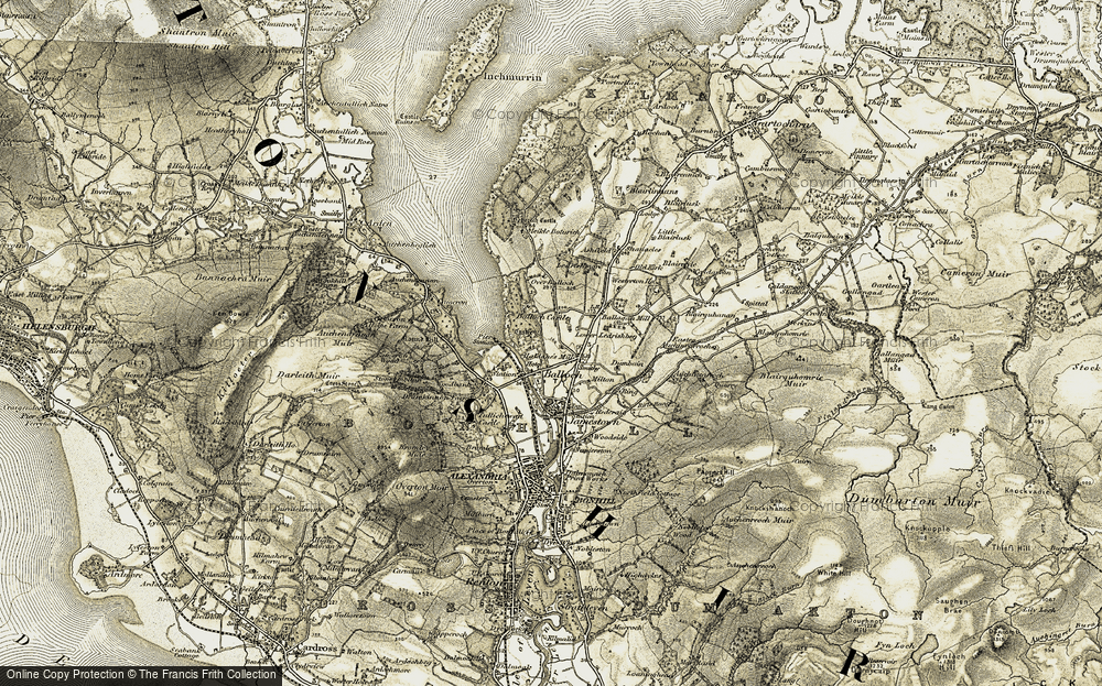 Old Map of Historic Map covering Balloch Castle in 1905-1907