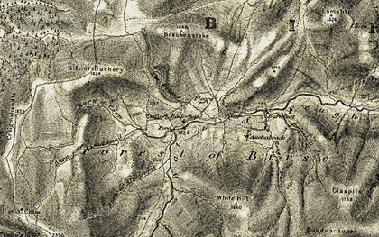 Old map of Ballochan in 1908-1909