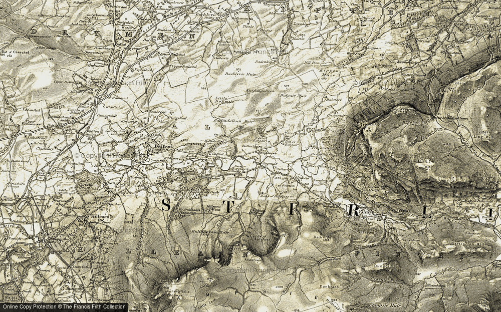 Old Map of Historic Map covering Balgair Muir in 1904-1907