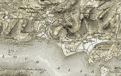 Old map of Balmacara in 1908-1909